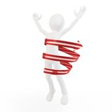 3d man jumping of joy. Isolated on white Royalty Free Stock Photography