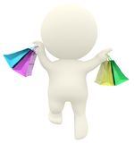 3D man jumping with shopping bags Royalty Free Stock Image