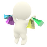 3D man jumping with shopping bags Stock Photos