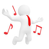 3d man jumping up and music sign Stock Images