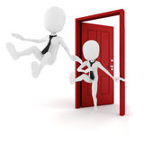 3d man kicked out from work, hard times in business Royalty Free Stock Photography