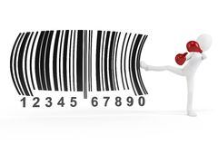 3d man kicking  barcodes concept Stock Photo