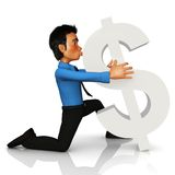 3D man kissing a dollar sign Royalty Free Stock Photo