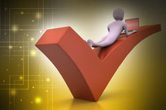 3d man with laptop lying on the right mark Royalty Free Stock Photos