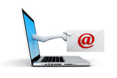 3d man and laptop online mail concept Stock Photography