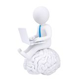 3d man with laptop sitting on the brain. Isolated render on a white background Royalty Free Stock Photo
