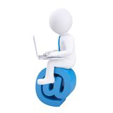 3d man with laptop sitting on the email icon. Isolated render on a white background Stock Photography