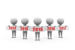 3d man last and next year conept Royalty Free Stock Images