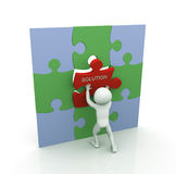 3d man with last puzzle piece Royalty Free Stock Photography