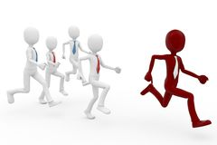 3d man leadership concept. Following the leader Stock Photo
