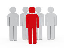3d man leadership red. Stand in series Stock Photos
