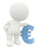 3D man leaning on an euro sign Stock Image
