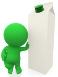 3D man leaning on a milk carton Royalty Free Stock Photography