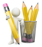 3D Man leaning on pencil holder Stock Photography