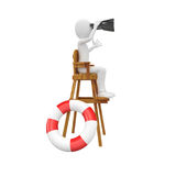 3d man lifeguard. Watching from high chair Royalty Free Stock Images