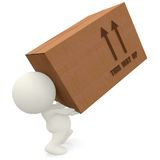 3D man lifting cardboard box Stock Photography