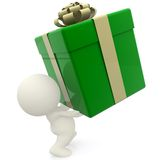 3D man lifting gift box Stock Photos