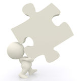 3D man - lifting puzzle piece Stock Photo