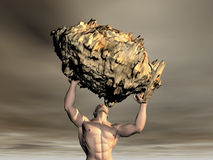 3D Man lifting rock Stock Photos