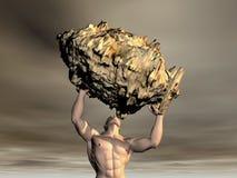 3D Man lifting rock Stock Photos