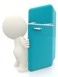 3D man - looking inside fridge Stock Photo