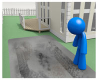 3d Man Looking at Tire Tracks in Driveway Royalty Free Stock Photo
