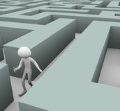 3d man Lost in maze. 3d man finding path through maze vector illustration