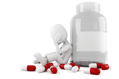 3d man and lots of pills Stock Photography
