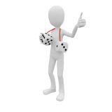 3d man lucky with dice Royalty Free Stock Photography