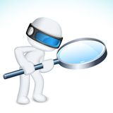 3d Man with Maghifying Lens. Illustration of 3d man in vector fully scalable with magnifying lens Stock Photos