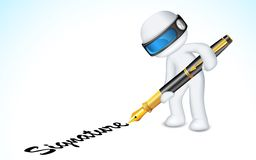 3d Man making Signature with Pen Royalty Free Stock Image