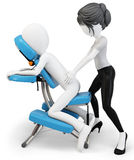 3d man an masseuse with massage chair Stock Images