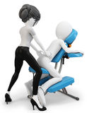 3d man an masseuse with massage chair Royalty Free Stock Photos