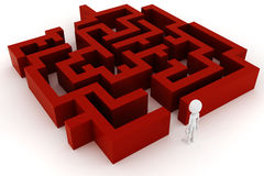 3d man and a maze. On white background royalty free illustration