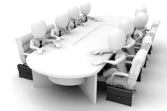 3d man - meeting. 3d men around a conference table having a meeting Stock Photography