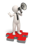 3d man with megaphone. 3d guy speaking through a megaphone while standing on a red puzzle piece - Image on white background with soft shadows Royalty Free Stock Images