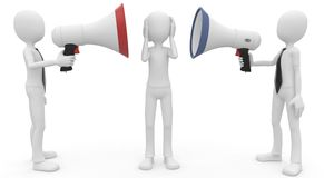 3d man with megaphone speaking loud Stock Photography