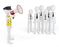 3d man with megaphone speaking to the crowd. On white background Royalty Free Stock Photo
