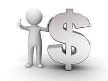 3d man with metal money Stock Image