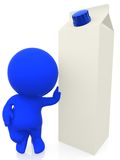 3D man with milk carton Royalty Free Stock Photos