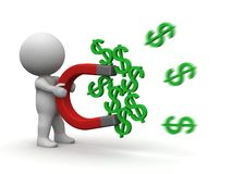3D Man Money Magnet Concept Royalty Free Stock Images