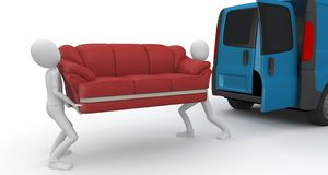 3d man moving furniture Stock Images