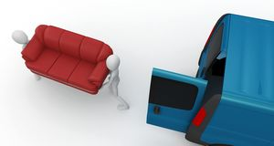 3d man moving furniture Royalty Free Stock Photography