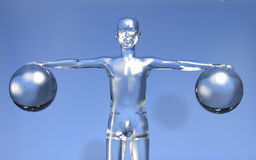 3d Man new digital era concept. Glassy 3d man with open arms holing two glass spheres on blue background Stock Images