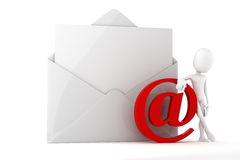 3d man online mail concept. On white background Stock Photos
