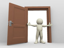 3d man and open door. 3d render of man in front of open door. 3d illustration of human character Stock Image