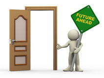 3d man, open door and future ahead sign. 3d illustration of person holding future ahead roadsign with open door.  3d rendering of people human character Royalty Free Stock Photo