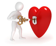 3d man opening heart with gold key. 3d man opening big heart with golden key Stock Photos