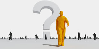 3d man out of the crowd. 3d man walking out of the crowd Royalty Free Stock Photo
