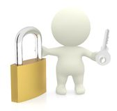 3D man with padlock and key Royalty Free Stock Photos
